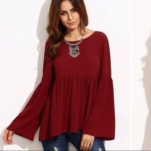 Shein Red Bell Sleeve Babydoll Blouse